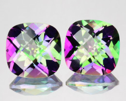 ~RAINBOW~ 5.19 Cts Natural Mystic Topaz 8mm Cushion 2Pcs Brazil
