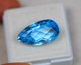 16.38Ct Swiss Blue Topaz Pear Cheeskerboard Cut Lot LZ2584