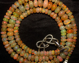 57 Crt Natural Ethiopian Welo Fire Opal Beads Necklace 957