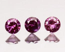 ~SET~ 0.09 Cts Natural Purplish Pink Diamond 3 Pcs Round Africa