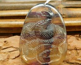 Purple crystal gemstone snake pendant for jewelry making (G0363)