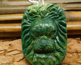 Natural gemstone carving african jade lion pendant bead (G0364)
