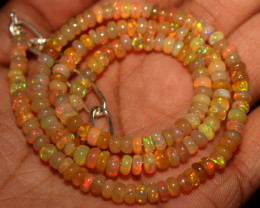 40 Crt Natural Ethiopian Welo Fire Opal Beads Necklace 1031