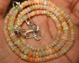36 Crt Natural Ethiopian Welo Fire Opal Beads Necklace 1084