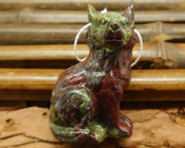Natural gemstone carving standing wolf pendant bead (G0272)