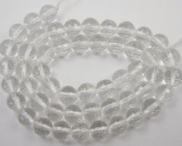 AAA+ CRYSTAL QUARTZ 8.00MM MICRO FACETED ROUND BEADS