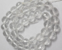 AAA CRYSTAL QUARTZ 10.00MM MICRO-FACETED ROUND BEADS