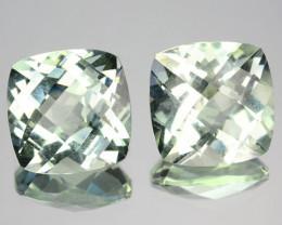~PAIR~ 7.66 Cts Natural Green Prasiolite / Amethyst 10 mm Cushion Brazil