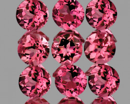 3.20 mm Round 9 pcs 1.25cts Red Pink Tourmaline [VVS]