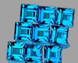 4.00 mm Square 9 pcs 3.53cts Swiss Blue Topaz [VVS]