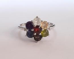 Multi gem 925 Sterling silver ring #501