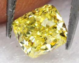 0.44Ct Fancy Vivid Intense Yellow Natural Diamond E0708
