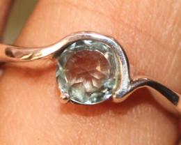 Natural Aquamarine 925 Sterling Silver Ring Size US (7) 49