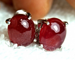 26.6 Tcw. Ruby Earrings, Silver, White Gold Plate - Gorgeous
