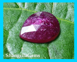 8mm 1.07ct Ruby rose cut drop shape gemstone natural heat only treatment 8