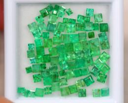 3.79Ct Zambia Green Emerald Square Cut Lot LZ2619