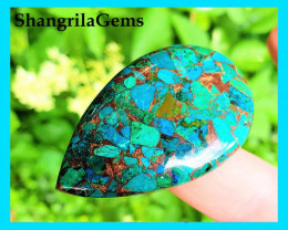51mm Mojave CHRYSOCOLLA drop pear cabochon 60ct 51 by 32 by 5mm