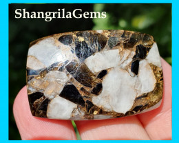 39mm mojave calcite cushion cabochon black and white