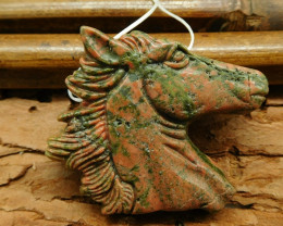 Natural gemstone unakite jasper carving horse head bead (G0399)