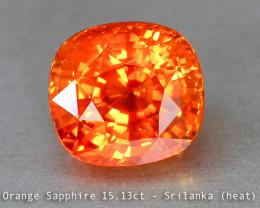 Scintillating Vivid Fanta Orange Sapphire - 15ct - Cushion - Srilanka