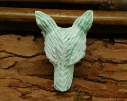 Natural gemstone green turquoise carving wolf head pendant (G0403)
