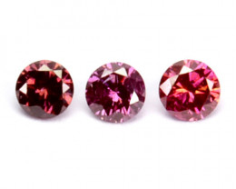 0.09 Cts Natural Brownish Pink Diamond 1.85mm Round 3 Pcs Africa