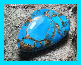RESERVED FOR CUSTOMER 28mm Mojave Turquoise cabochon FREEFORM 19ct 28 by 19