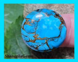 21mm Mojave Turquoise cabochon round 21mm by 5mm 18ct