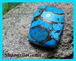 19.5mm Mojave Turquoise cabochon cushion 19.5 by 14.5 by 5.5mm