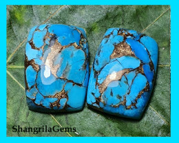18mm Mojave Turquoise pair cabochon cushion 18 by 13.5 by 5mm