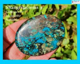 56mm 131ct Chrysocolla Malachite Hematite cuprite Namibia cabochon oval 56