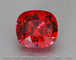 Brilliant Vivid Red Spinel - 7.20ct - Cushion -  Mahenge - Tanzania