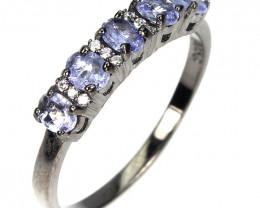 Sparkling Tanzanite Ring & Pendant Black Rhodium over Sterling No Reser