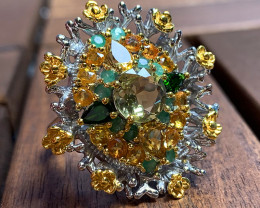 Breath taking Floral bouquet Ring Size 9.5 Sterling Silver 14kt Gold NR