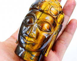 Genuine 1791.00 Cts Golden Tiger Eye Buddha Head