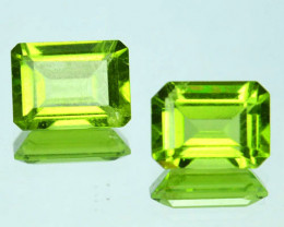 3.20 Cts Natural Parrot Green Peridot 8x6 mm Octagon 2 Pcs Pakistan