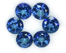 5.83 Cts Mesmerizing Blue Natural Topaz 6 mm Round 6 Pcs Brazil