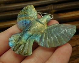 Labradorite carving raven pendant bead animal craft (G0408)