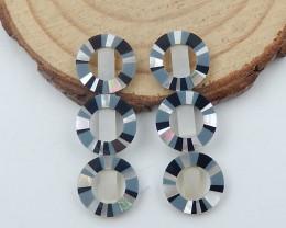 7cts Hot Natural Shell ,Hematite ,Obsidian Intarsia Cabochon Pair