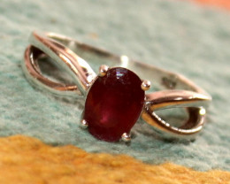 Natural Glass Filled Ruby 925 Sterling Silver Ring Size US (7.5) 55