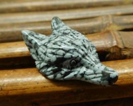 Natural gemstone snow flake obsidian fox craft jewelry (G0423)