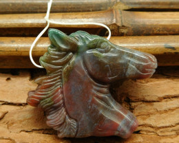Fancy agate carved horse craft pendant necklace (G0426)