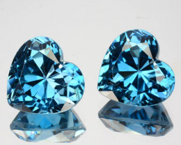 ~PAIR~ 6.82 Cts Natural London Blue Topaz 9mm Heart 2 Pcs Brazil