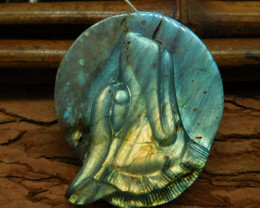 Natural gemstone labradorite carving animal wolf lover (G0434)