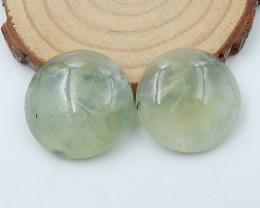 2pcs Handmade Gemstone ,Prehnite Cabochons ,Lucky Stone C832