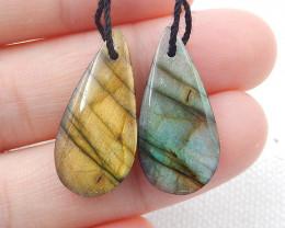 Natural Labradorite Teardrop Earrings Beads, stone for earrings making H624