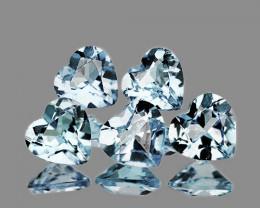5.00 mm Heart 5 pcs 1.77cts Light Blue Aquamarine [VVS]