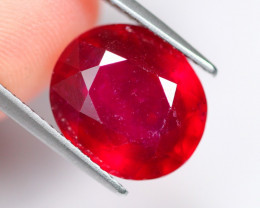 7.09cts Blood Red Oval Cut Ruby / HH72