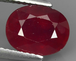 3.50 Cts~Luxurious! Jumbo!  Facet Top Blood Red Natural Ruby!!