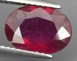 3.10 Cts~Luxurious! Jumbo! Facet Top Blood Red Natural Ruby!!